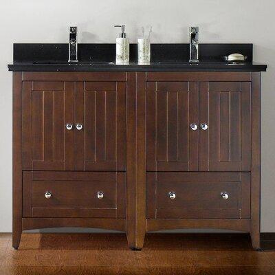 47.5 Double Bathroom Vanity Set Base Finish: Walnut, Top Finish: Black Galaxy, Faucet Mount: Single