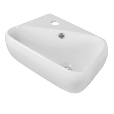 Ceramic 6 Wall Mount Bathroom Sink with Overflow Hardware Finish: Gold