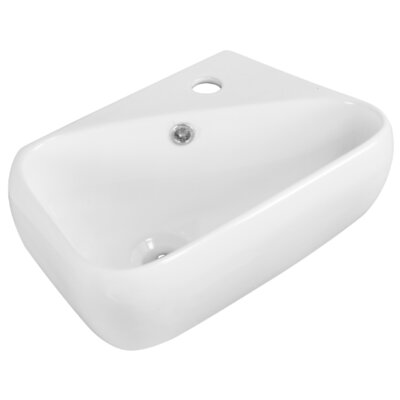Ceramic Rectangular Vessel Bathroom Sink with Overflow Hardware Finish: Brushed Gold