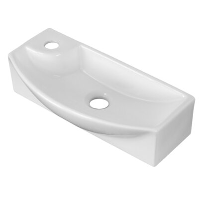 Ceramic Rectangular Vessel Bathroom Sink with Overflow Hardware Finish: Stainless Steel