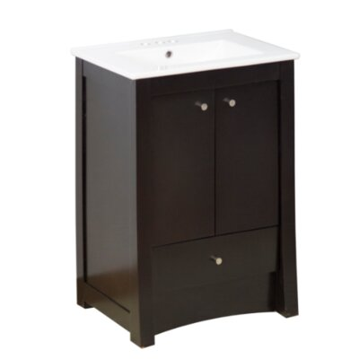 Transitional 32 Single Bathroom Vanity Set Hardware Finish: Aluminum, Faucet Mount: 4 Off Center