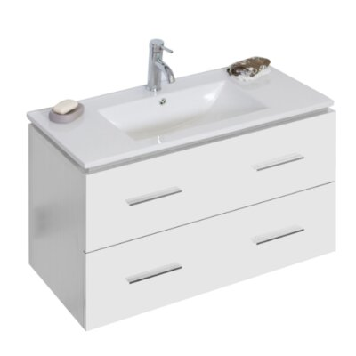 Modern 35 Single Bathroom Vanity Base Hardware Finish: Brushed Nickel