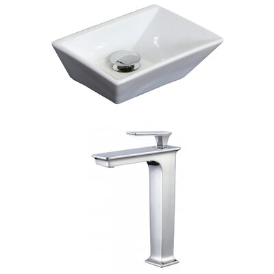 Emily Ceramic Rectangular Vessel Bathroom Sink with Faucet and Overflow