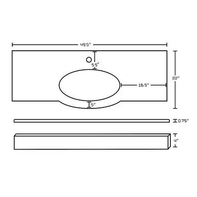 Kimbrough Floor Mount 49.5 Single Bathroom Vanity Set Faucet Mount: Single Hole