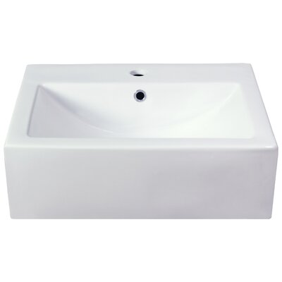 Xena Farmhouse Wall Mount Bathroom Sink with Overflow Faucet Mount: Single Hole