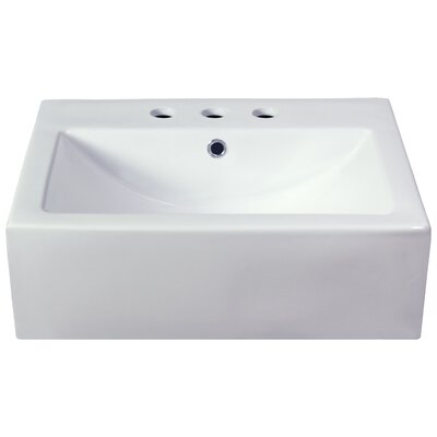 Xena Farmhouse Ceramic Rectangular Vessel Bathroom Sink with Overflow Faucet Mount: 4 Centers