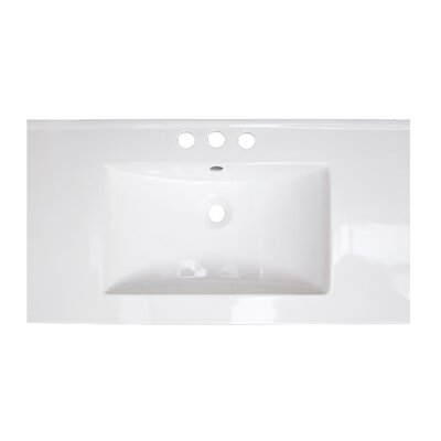 Flair Ceramic 32 Single Bathroom Vanity Top Faucet Mount: 8 Centers