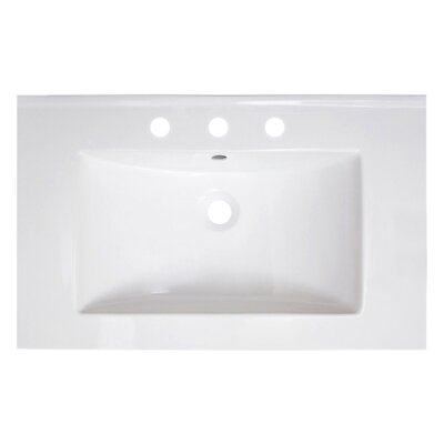 Vee Ceramic 30 Single Bathroom Vanity Top Top Finish: 8 Centers