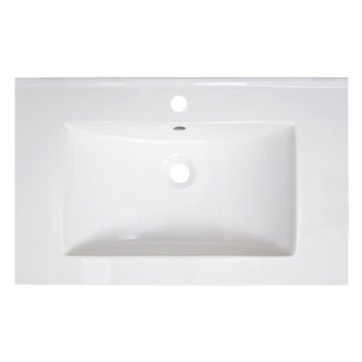30 Single Bathroom Vanity Top Faucet Mount: 8 Centers, Overflow Cap Color: White