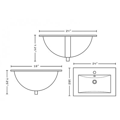 Ceramic 24 Single Bathroom Vanity Top