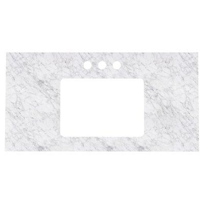Elite Marble 36 Single Bathroom Vanity Top Top Finish: Bianca Carara, Faucet Mount: 4 Centers