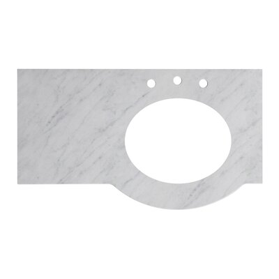 Tiffany Marble 38 Single Bathroom Vanity Top Top Finish: Bianca Carara, Faucet Mount: 8 Centers