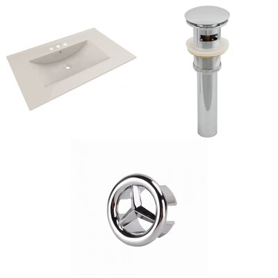 Drake Ceramic 36 Single Bathroom Vanity Top Faucet Mount: 4 Centers, Top Finish: Biscuit