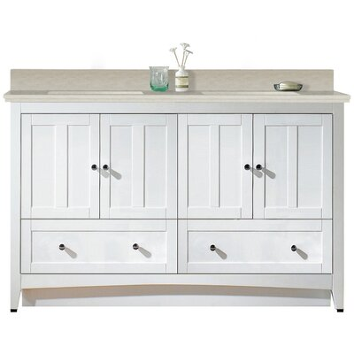Artic 59 Rectangle Single Bathroom Vanity Set Sink Finish: Biscuit, Faucet Mount: 4 Centers