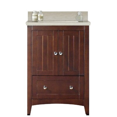 Artic 24 Single Bathroom Vanity Set Base Finish: White, Sink Finish: White, Faucet Mount: Single Hole