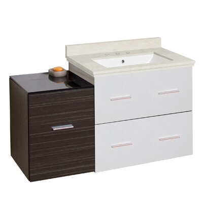 Phoebe Drilling Wall Mount 38 Wood Frame Single Bathroom Vanity Set with Undermount Sink Base Finish: Dawn Gray/White, Top Finish: Beige, Sink Finish: White