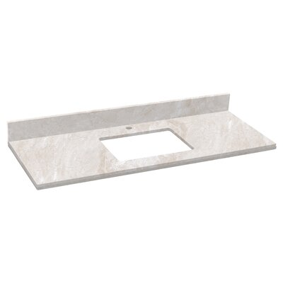 Shaker Quartz 48 Single Bathroom Vanity Top Top Finish: Beige, Faucet Mount: Single Hole