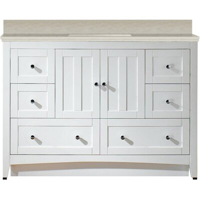 Artic 48 Single Bathroom Vanity Set Base Finish: White, Sink Finish: Biscuit, Faucet Mount: 4 Centers