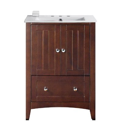 Artic Modern 24 Rectangle Single Bathroom Vanity Set Base Finish: Walnut, Faucet Mount: 8 Centers