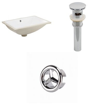 Ceramic Rectangular Undermount Bathroom Sink with Overflow Drain Finish: Chrome