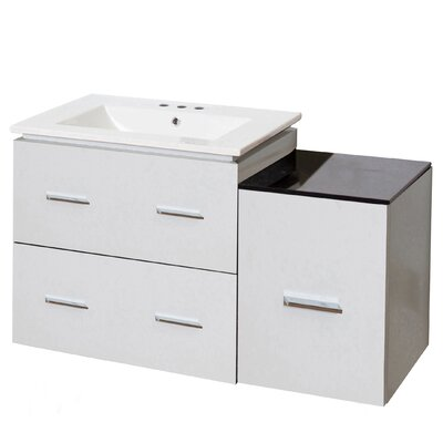 Kyra Modern 38 Rectangle Plywood Single Bathroom Vanity with 3 Drawers Faucet Mount: 8 Centers