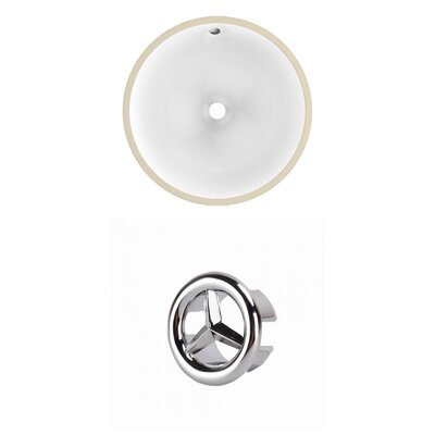 Ceramic Circular Undermount Bathroom Sink with Overflow Drain Finish: Chrome
