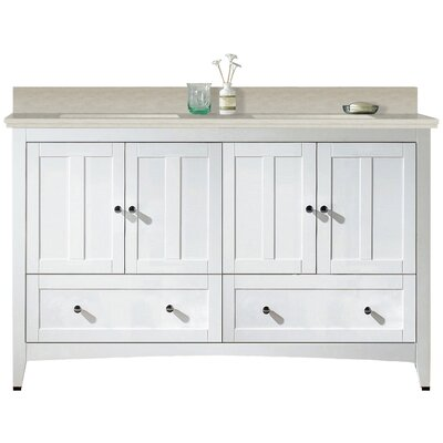 Artic 59 Plywood-veneer Single Bathroom Vanity Set Sink Finish: Biscuit, Faucet Mount: 4 Centers