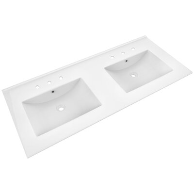 Xena Ceramic 48 le Bathroom Vanity Top Faucet Mount: 8 Centers