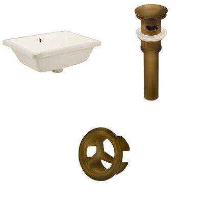 Ceramic Rectangular Undermount Bathroom Sink with Overflow Drain Finish: Antique Brass