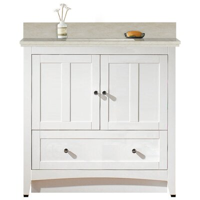Artic 36 Single Bathroom Vanity Set Base Finish: White, Sink Finish: Biscuit, Faucet Mount: 4 Centers