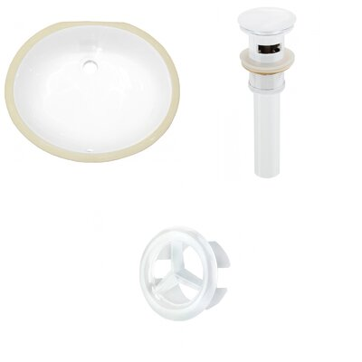 Ceramic Oval Undermount Bathroom Sink with Overflow Drain Finish: White