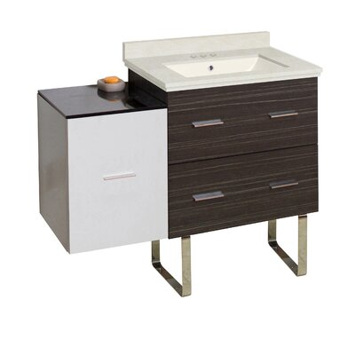 Kyra 38 Glazed Single Bathroom Vanity Set Sink Finish: Biscuit, Faucet Mount: 4 Centers