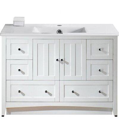 Artic Modern 48 Rectangle Single Bathroom Vanity Set Base Finish: White, Faucet Mount: Single Hole