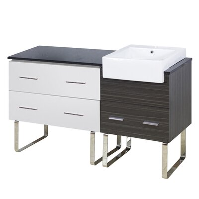 Xena Farmhouse Plywood-Melamine 58 Single Bathroom Vanity Base Base Finish: White/Dawn Gray