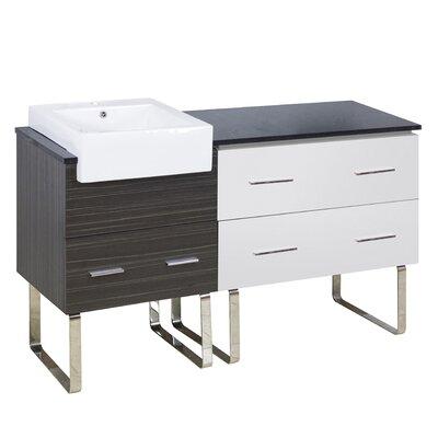 Xena Farmhouse Plywood-Melamine 58 Single Bathroom Vanity Base Base Finish: White/Dawn Gray