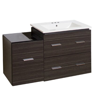 Kyra Modern 38 Rectangle Plywood Single Bathroom Vanity Faucet Mount: 4 Centers