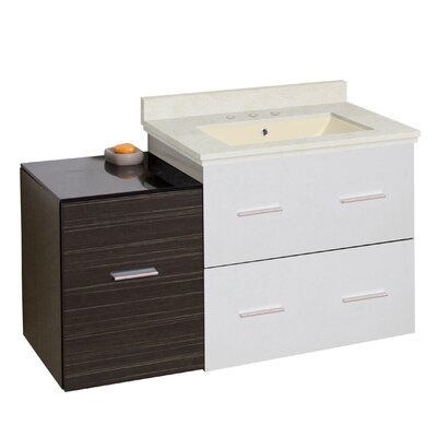 Kyra Modern 38 Rectangle Single Bathroom Vanity Set Sink Finish: Biscuit, Faucet Mount: 8 Centers