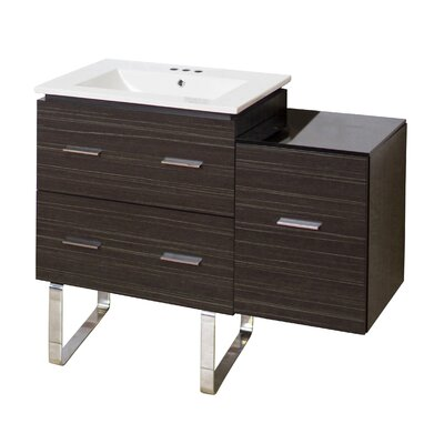 Kyra Modern 38 Single Bathroom Vanity Base Finish: Dawn Gray, Faucet Mount: 4 Centers