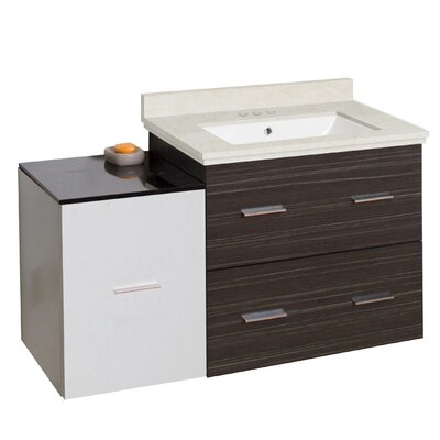 Kyra 38 Rectangle Single Bathroom Vanity Set Sink Finish: White, Faucet Mount: 4 Centers