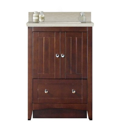 Artic 24 Rectangle Single Bathroom Vanity Set Base Finish: White, Faucet Mount: 4 Centers, Sink Finish: Biscuit