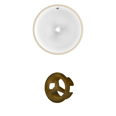 Circular Undermount Bathroom Sink with Overflow Drain Finish: Antique Brass