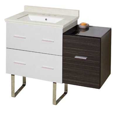 Kyra Modern 38 Rectangle Glazed Single Bathroom Vanity Set with 3 Drawers Sink Finish: White, Faucet Mount: 8 Centers