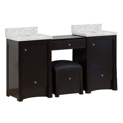 Alburgh 61 Double Bathroom Vanity Set Top Finish: Bianca Carara