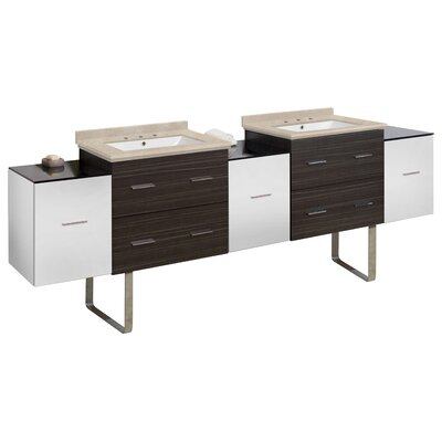 Phoebe Drilling Floor Mount 90 Double Bathroom Vanity Set Top Finish: Dark Beige, Sink Finish: White, Faucet Mount: 4 Centers