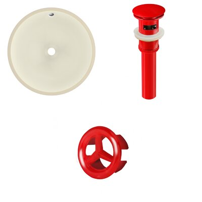 Ceramic Circular Undermount Bathroom Sink with Overflow Drain Finish: Red