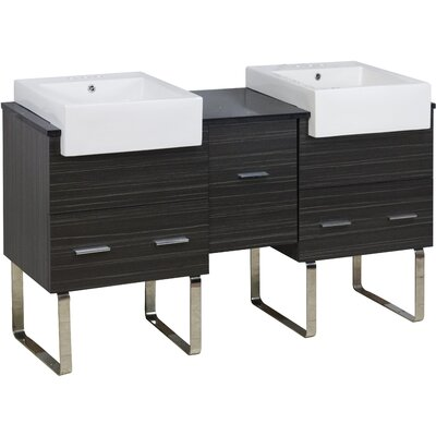 Xena Farmhouse Plywood-Melamine 60 Double Bathroom Vanity Base Base Finish: Dawn Gray
