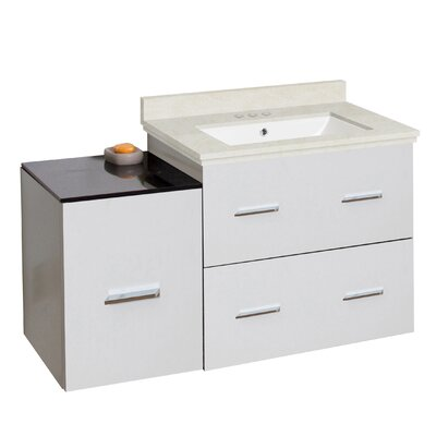 Phoebe Drilling Wall Mount 38 Single Bathroom Vanity Set Base Finish: White/Dawn Gray, Top Finish: Bianca Carara, Sink Finish: Biscuit