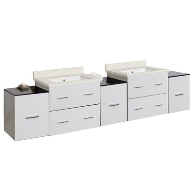 Phoebe Drilling Wall Mount 89 Rectangle Double Bathroom Vanity Set Base Finish: White, Top Finish: Beige, Sink Finish: White