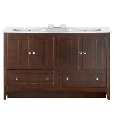 Artic 59 Single Bathroom Vanity Set Faucet Mount: 4 Centers, Base Finish: Walnut