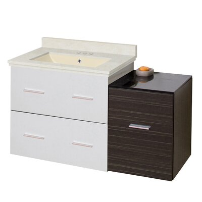Kyra Modern 38 Rectangle Glazed Single Bathroom Vanity Set Sink Finish: Biscuit, Faucet Mount: 4 Centers